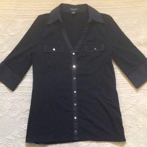 White House Black Market Black Knit Utility Shirt